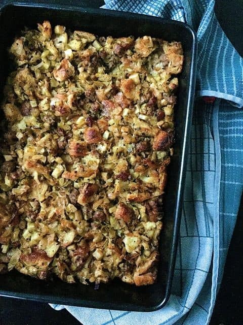 Croissant Stuffing with Sausage and Apples
